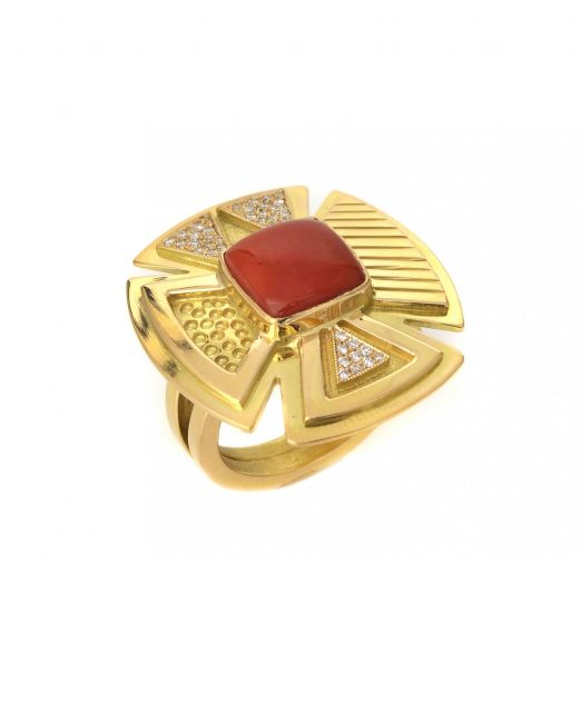 20-r-003-Parfleche-design-ring-with-coral-and-diamonds